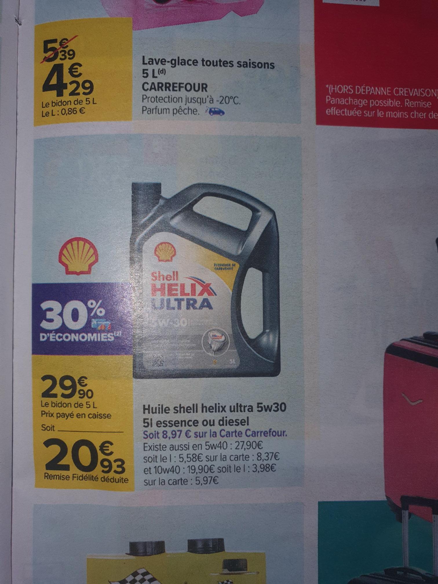 Bidon d'huile Shell Hélix ultra 5w30 - 5L, essence ou diesel (via 9€ sur la carte)