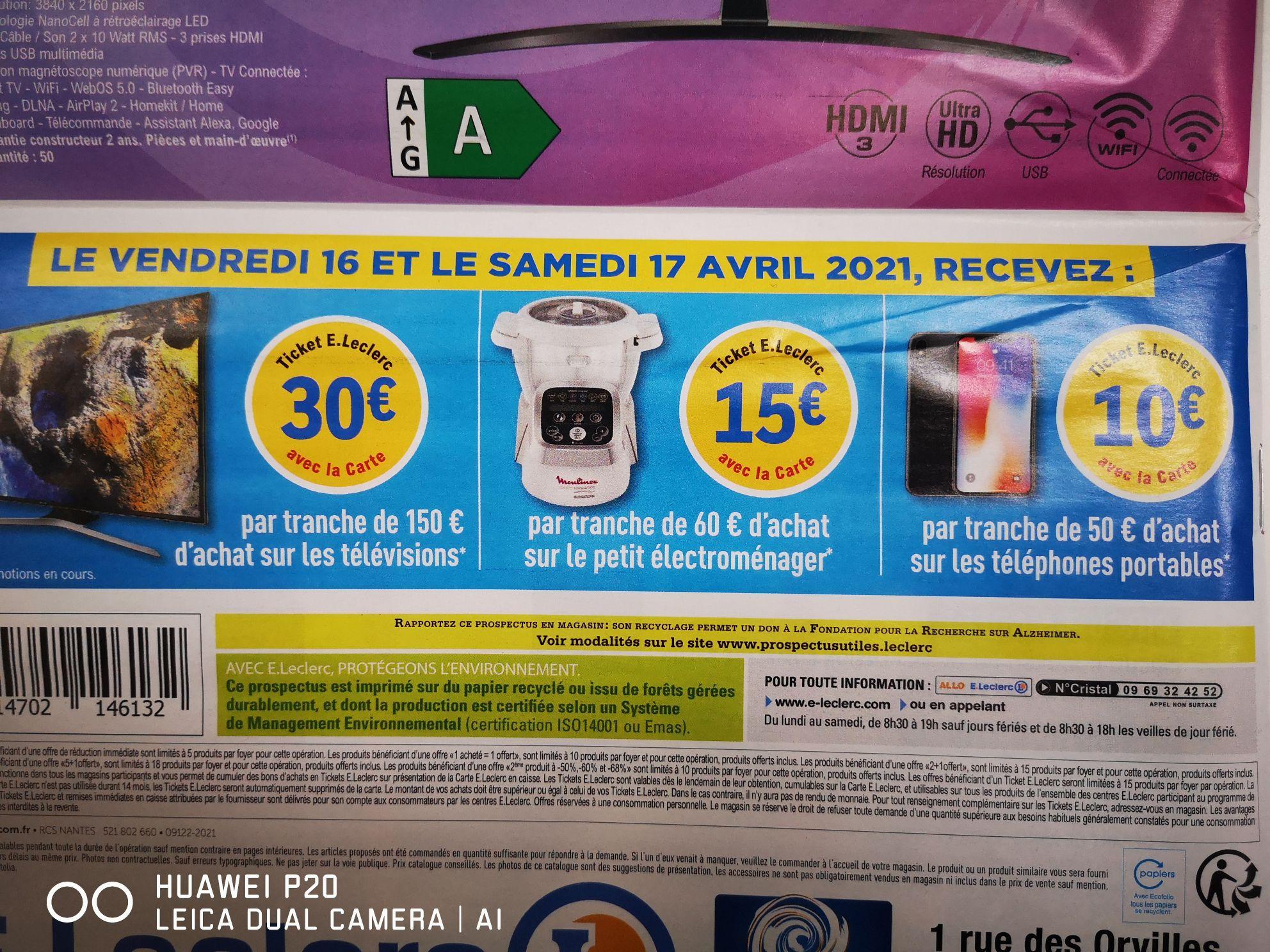 Sélection d'offres promotionnelles - Ex: 30€ crédités sur le compte fidélité par tranche de 150€ d'achat sur les TV - Barjouville (28)