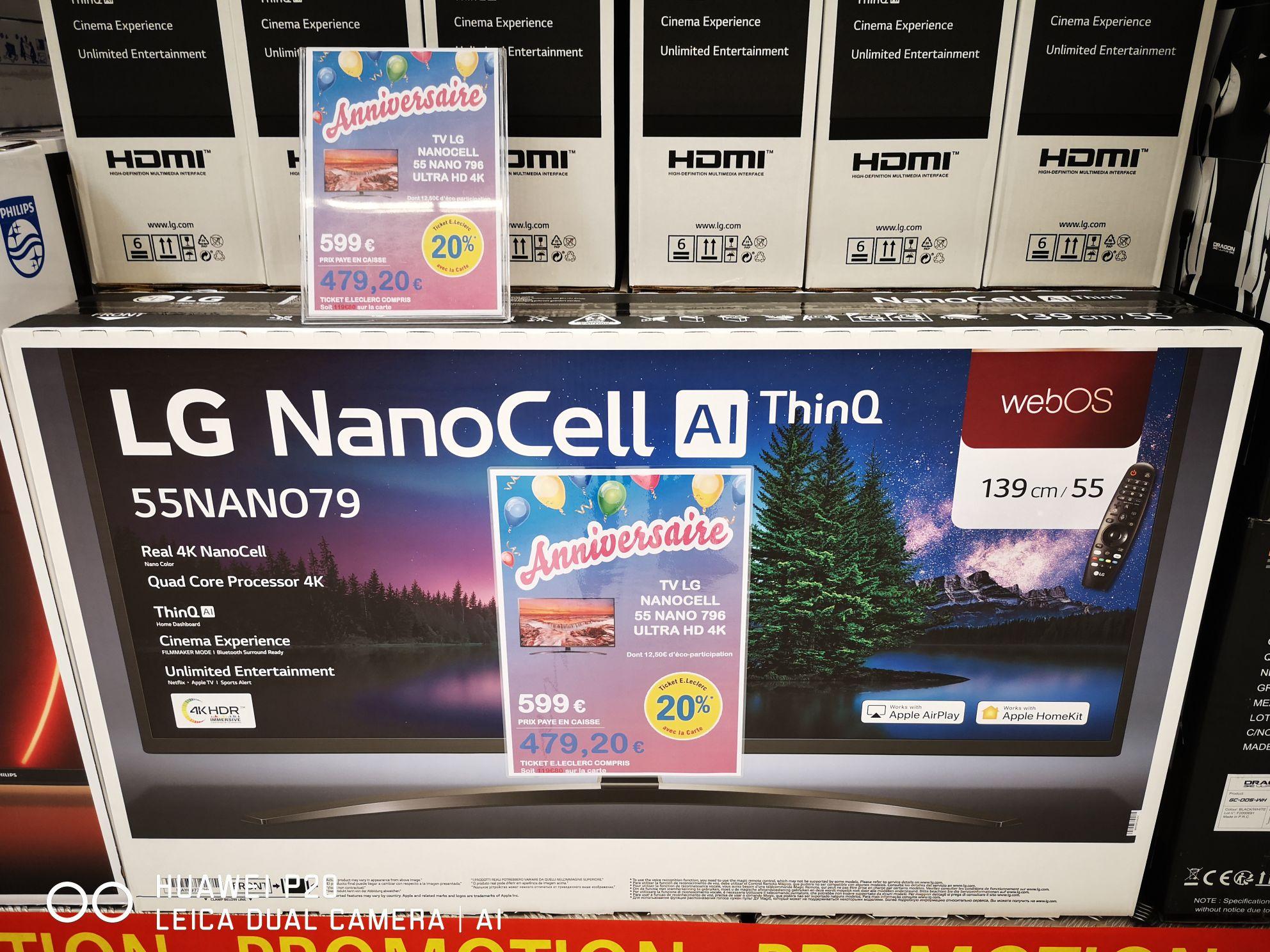 """TV 55"""" LG Nanocell 55NANO79 (2020) - 4K, LED, IPS, Active HDR (HDR10 Pro / HLG), Smart TV (Via 119.80€ sur carte fidélité) - Barjouville(28)"""