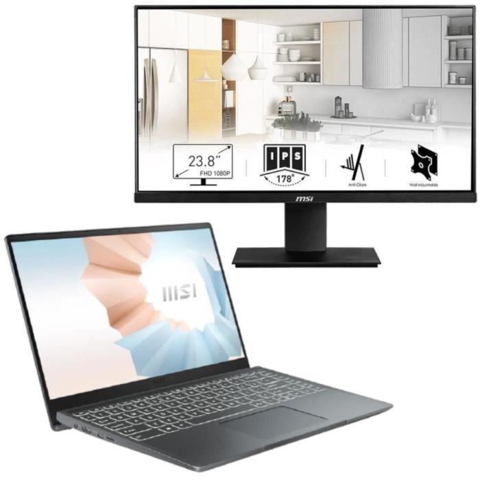 """PC Portable 14"""" MSI Modern B10MW-443FR (FHD, i5-10210U, 8 Go RAM, 512 Go SSD, W10) + Écran PC 23.8"""" MSI MP241 (FHD, IPS)"""