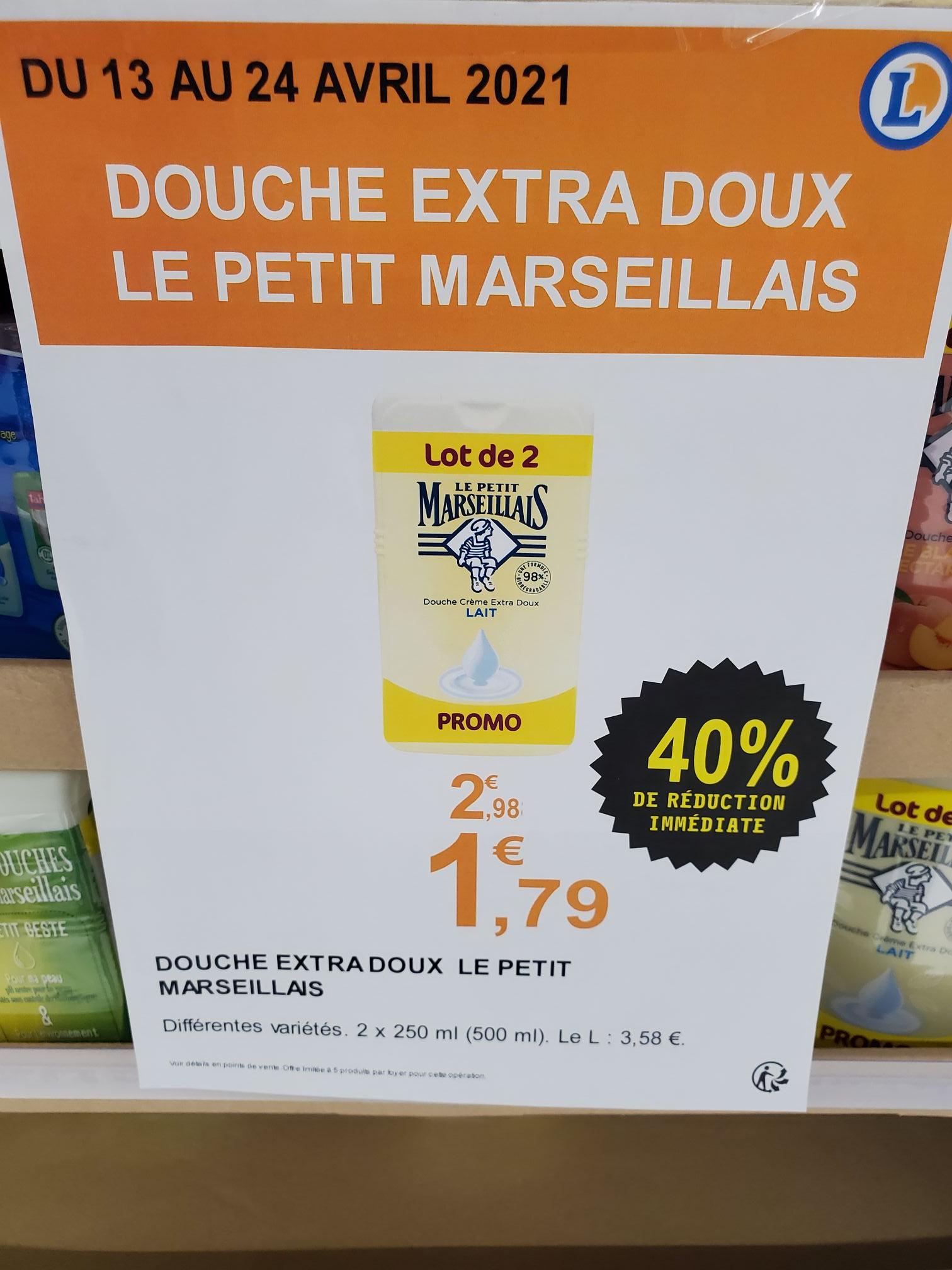 Lot de 2 gels-douche Le Petit Marseillais Douche Crème Extra Doux (2x250 ml) - Massy (91)