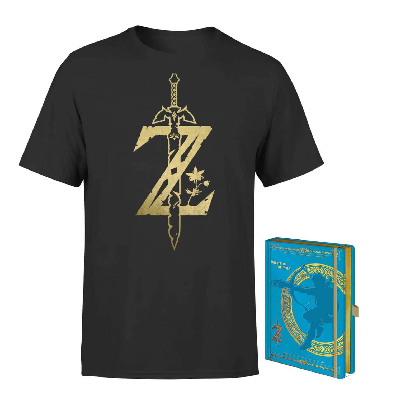 Lot Nintendo The Legend of Zelda - tee-shirt (femme ou homme, différentes tailles) + carnet