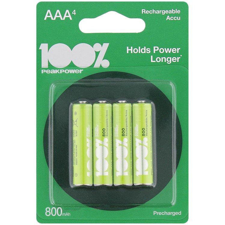 Paquet de 4 piles rechargeables AAA 100% Peak Power
