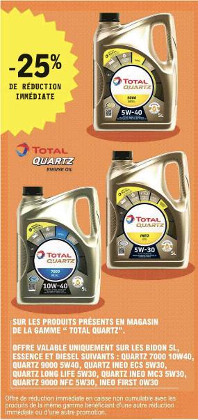 25% de remise immédiate sur la gamme d'huile moteur Total Quartz