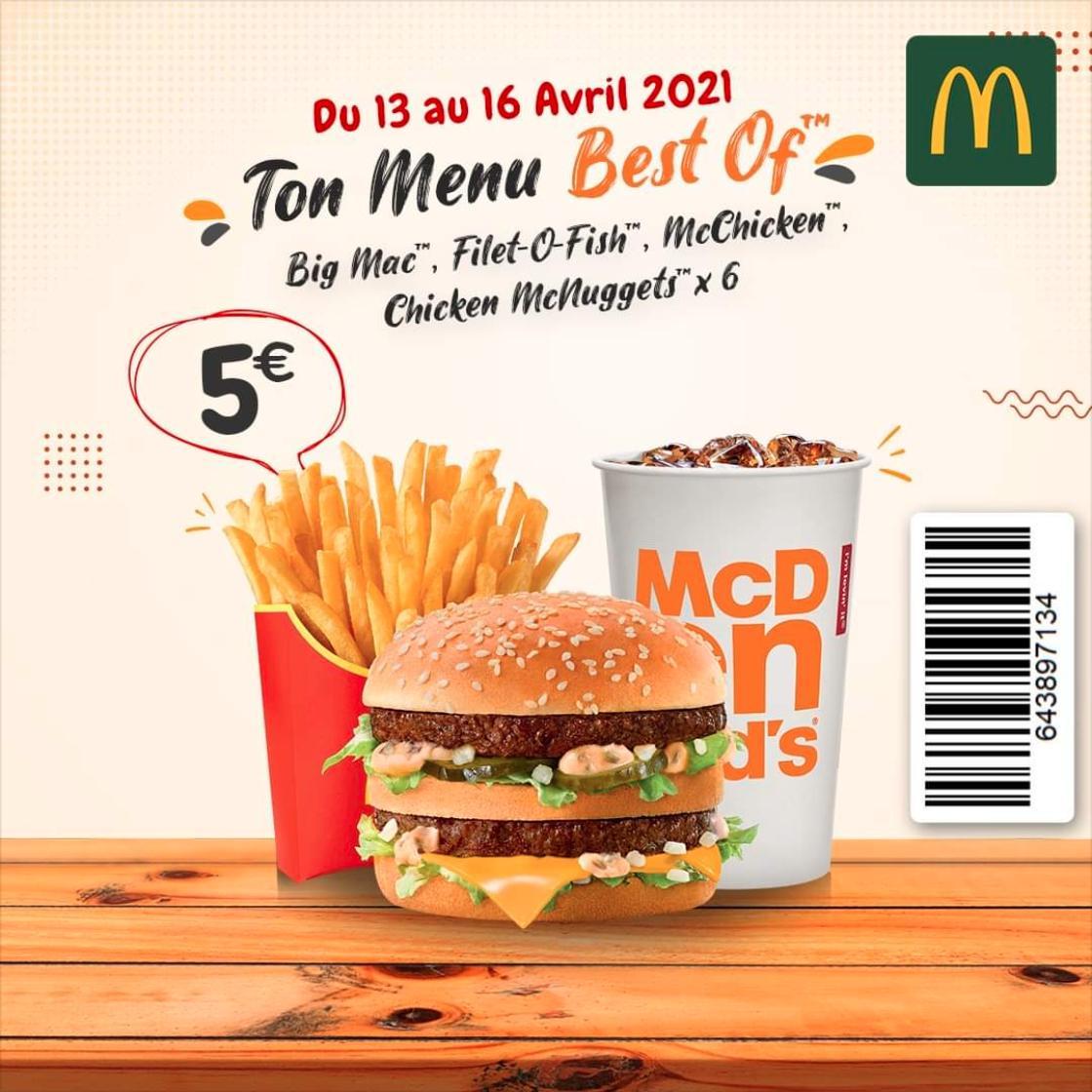 1 Menu Best Of Big Mac, Mac Chicken ou Nuggets x6 - Beauvais (60)