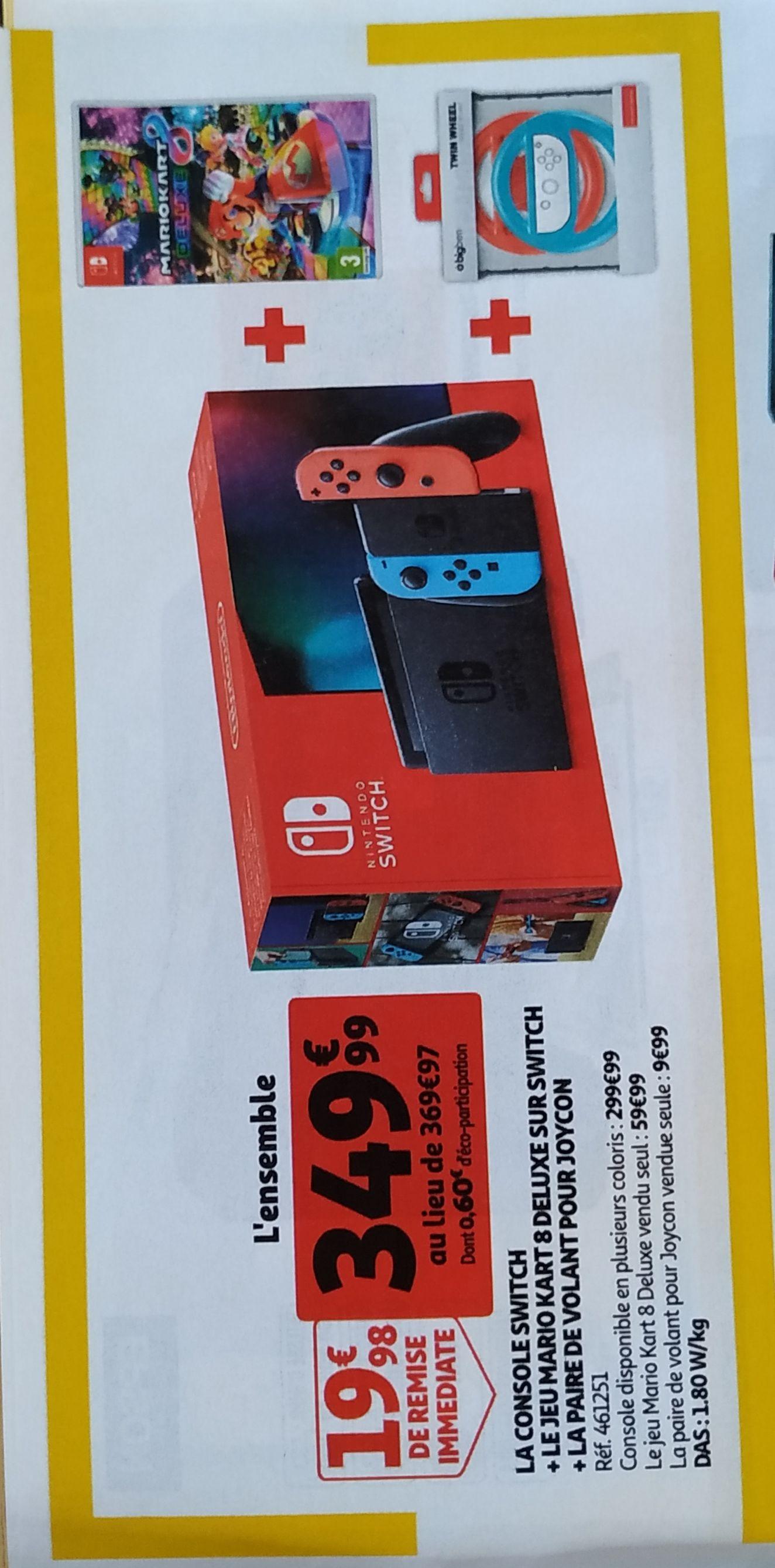 Console Nintendo Switch + Jeu Mario Kart 8 Deluxe + Paire de volant pour Joy-Con