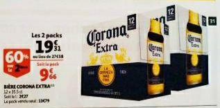 2 Packs de 12 Bières Corona Extra - 24 x 33,5cl