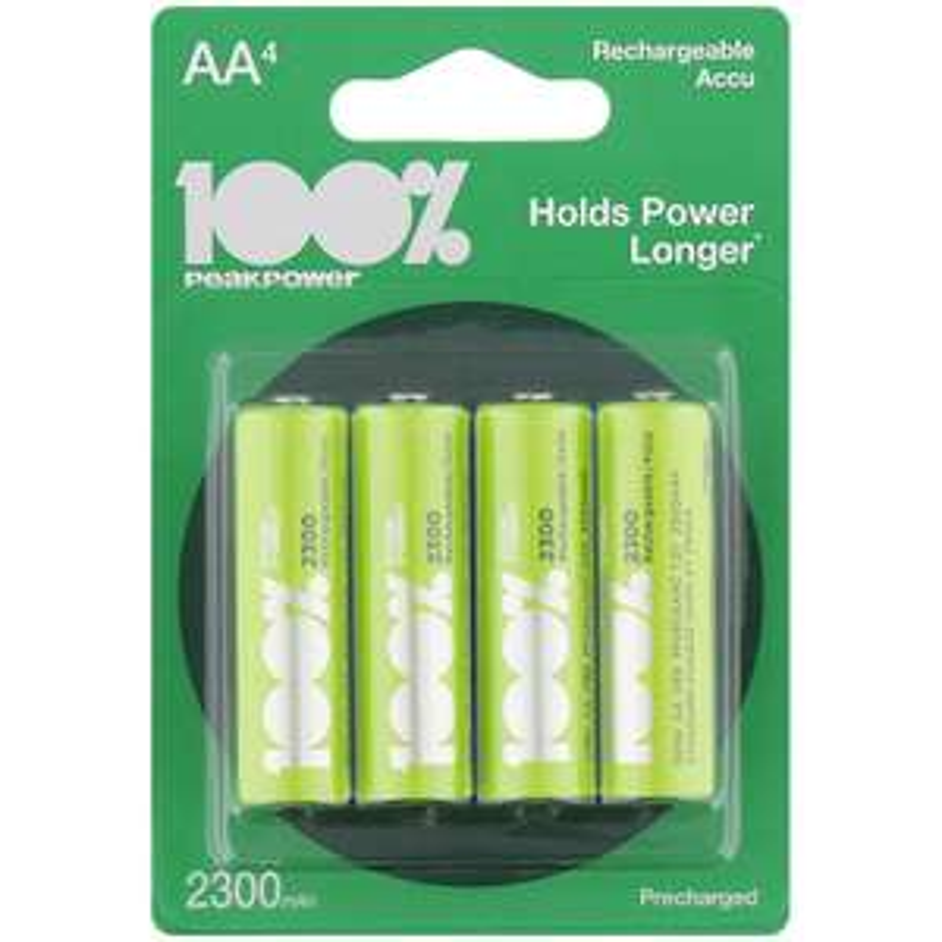 Lot de 4 piles rechargeables Peak Power - AA