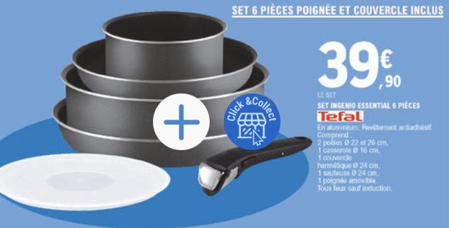 Batterie de cuisine Tefal Ingenio Essential - 6 pièces, tous feux sauf induction