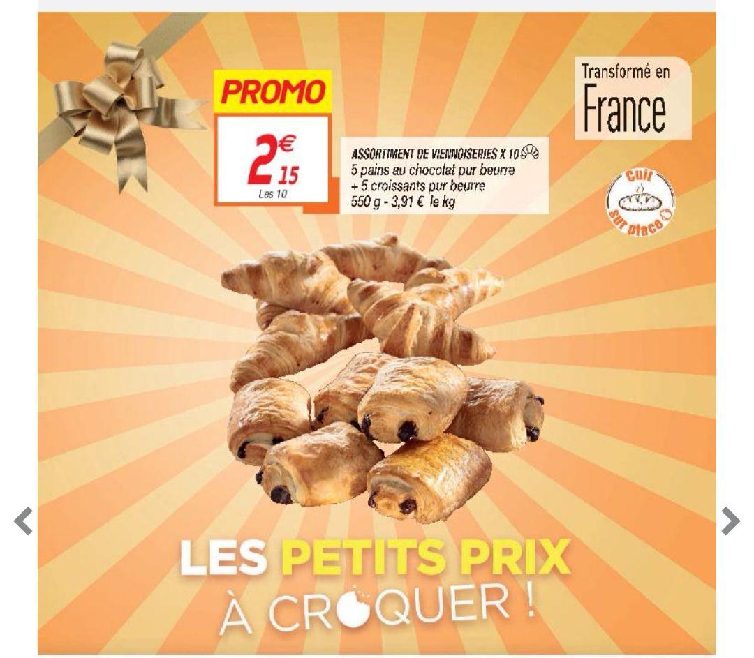 Lot de 10 viennoiseries pur beurre cuites sur place - 5 pains au chocolat + 5 croissants (550g)