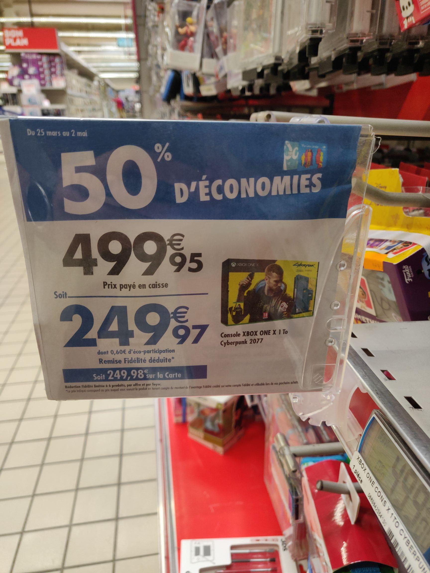 Pack Console Microsoft Xbox One X (1 To) + Cyberpunk 2077 (via 249,98€ sur la carte fidélité) - Quetigny (21)