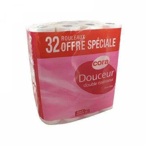 Paquet de 32 rouleaux de papier-toilette Cora Double-Épaisseur - blanc ou rose