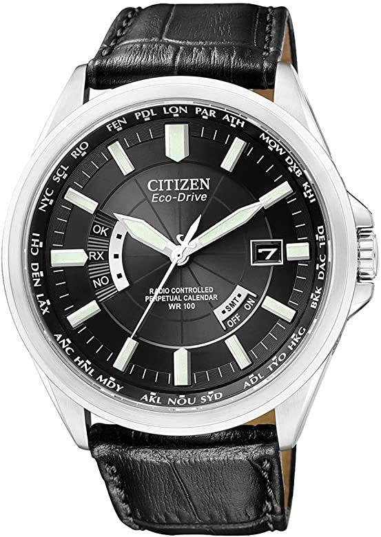 Montre radiopilotée à Quartz Analogique Citizen CB0010-02E pour Homme, Bracelet Cuir Noir
