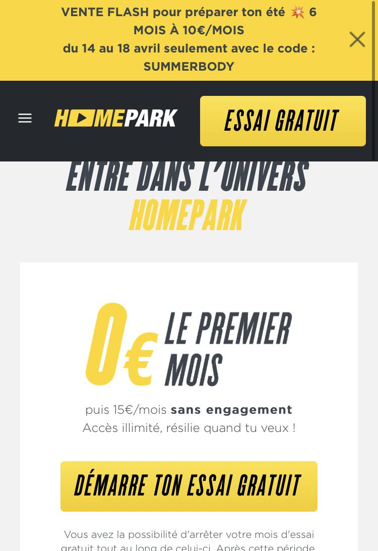 Abonnement mensuel aux entraînements sportifs en ligne HomePark à 10€ (pendant 6 mois) + 1er mois offert (dématérialisé) - FitnessPark.com