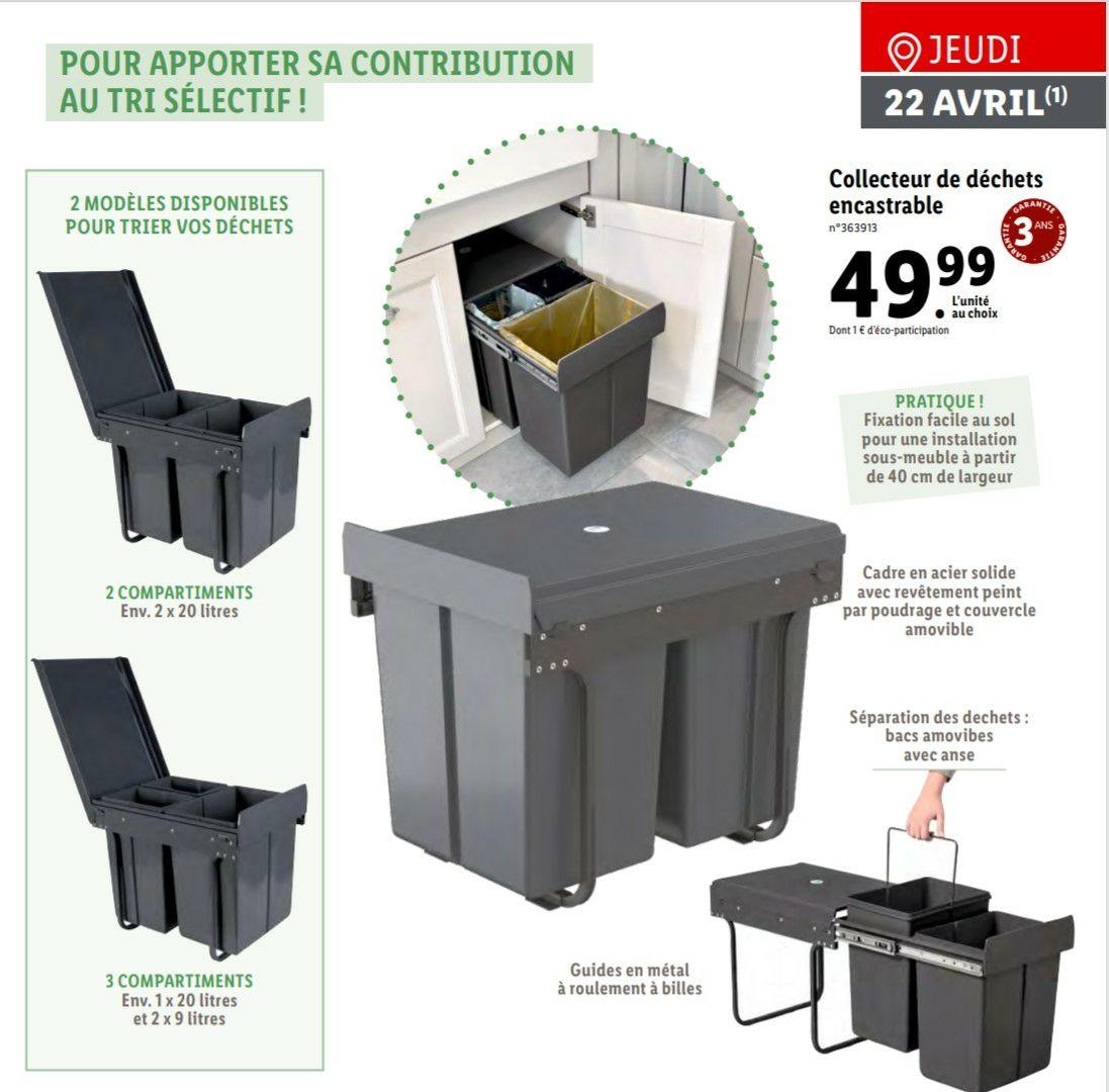 Collecteur de déchets encastrable - avec 2 ou 3 compartiments (2x20 L ou 20 L + 2x9 L)