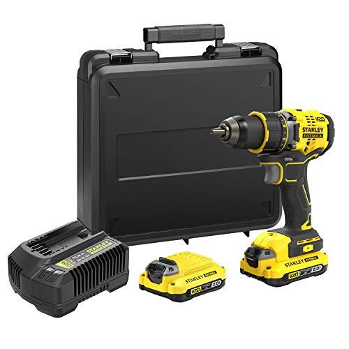 Coffret Perceuse visseuse Stanley FatMax SFMCD720D2K-QW - 18v, Brushless, Couple 80Nm + Chargeur + 2 Batteries 2Ah