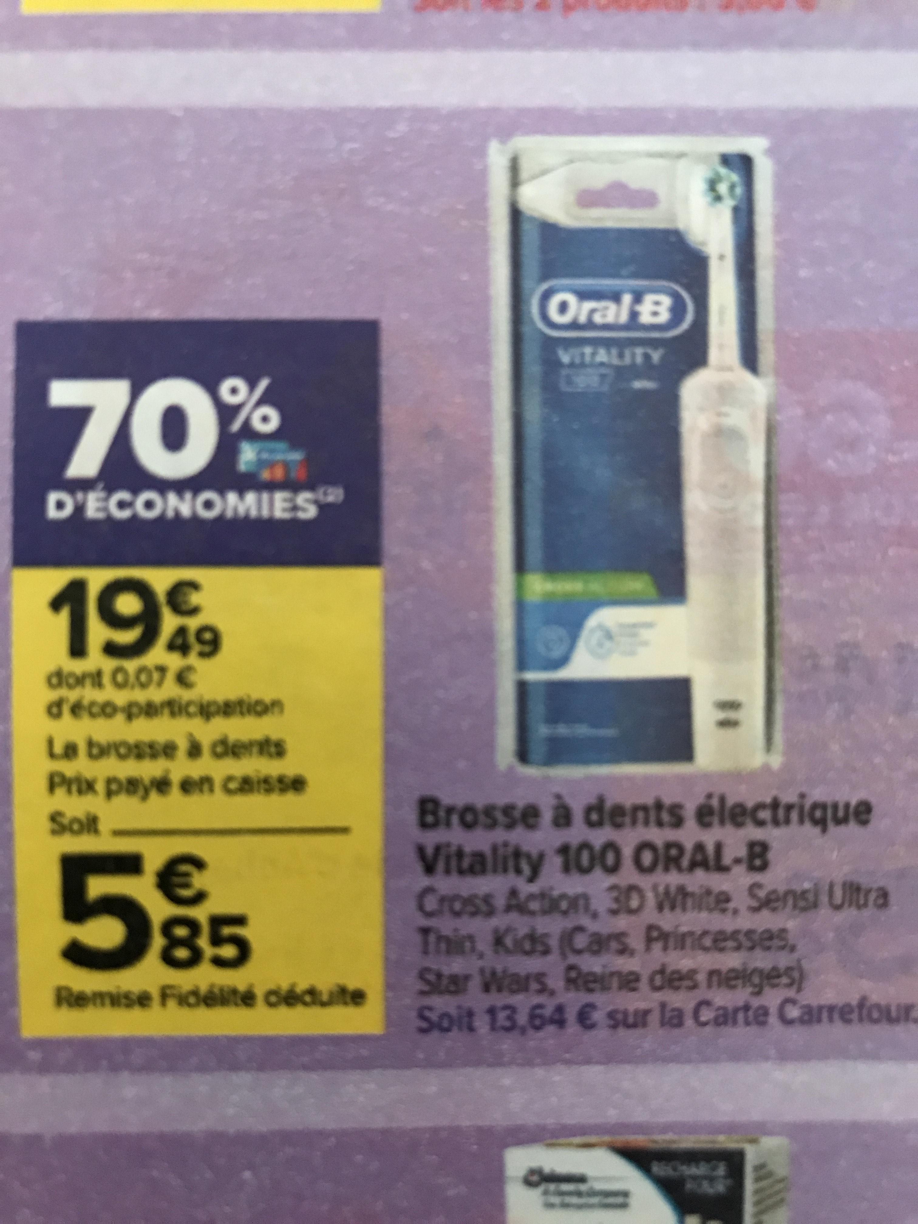 Brosse à dents électrique Oral B Vitality 100 - différents modèles (via 13.64€ sur la carte de fidélité)