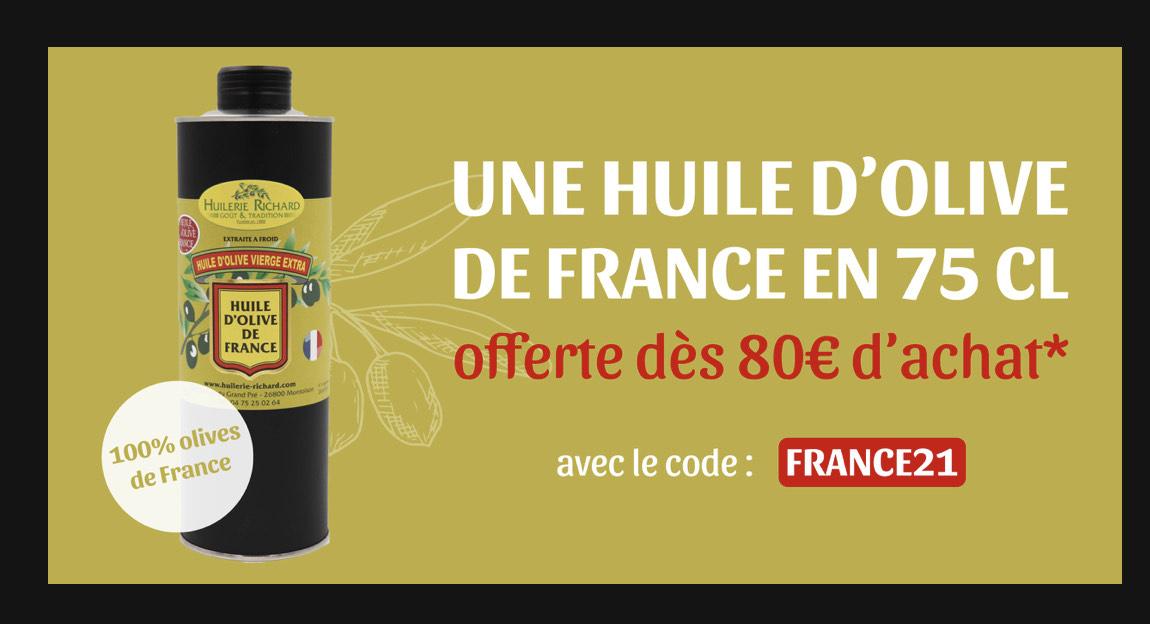 Bouteille d'huile d'olive vierge extra de France (75cl) offerte dès 80€ d'achat (huilerie-richard.com)