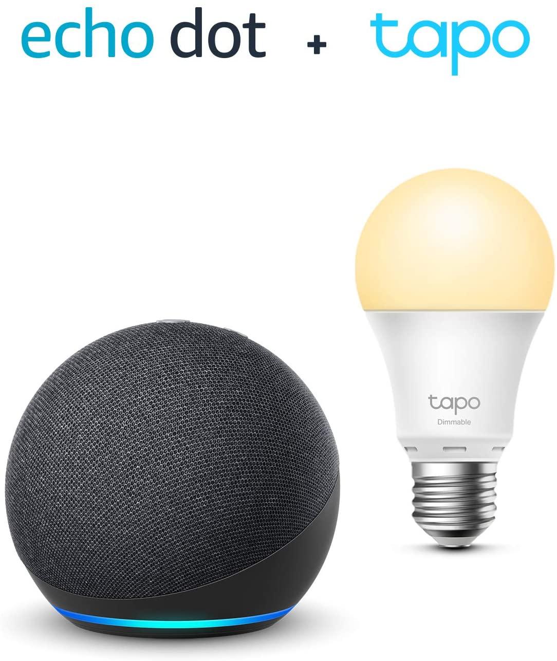 Pack assistant vocal Echo Dot 4ème génération (avec Alexa, anthracite) + Ampoule connectée TP-Link Tapo (LED, E27)