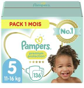 Paquet de couches Pampers Premium Protection - Taille 5 (11-16kg), 136 couches