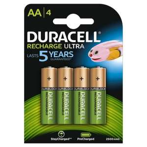 4 piles rechargeables Duracell AA 2500mAh