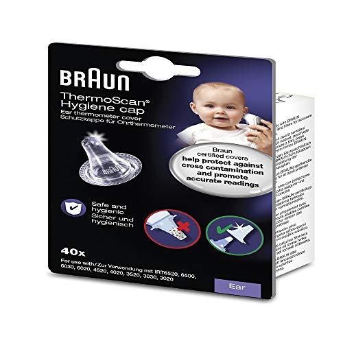 Pack de 40 Embouts jetables Braun LF40 pour thermomètres auriculaires transparent