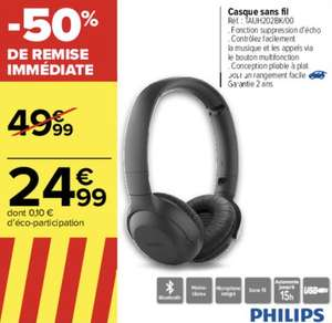 Casque sans fil Bluetooth Philips TAUH202BK