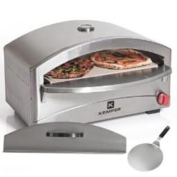 Four à pizza gaz Kemper 4800W, Inox + Spatule pizzaiolo Cuisson sur pierre réfractaire 400°C max Allumage piezo (univers-du-pro.com)
