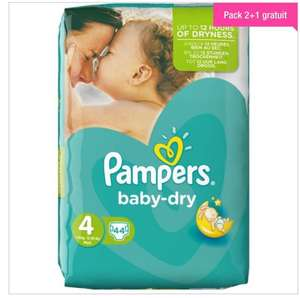 Lot de 3 packs de 44 couches Pampers Baby Dry Taille 4