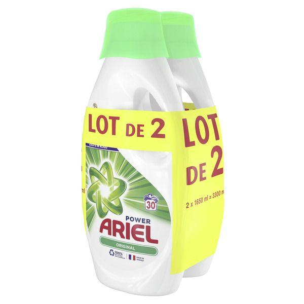 Lot de 2 bidons de 1.65 litres de Lessive liquide Ariel - 2 x 30 lavages (via 13,65€ sur la carte fidélité)