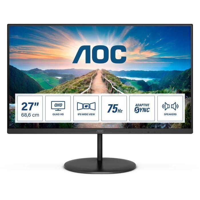 "Ecran PC 27"" AOC Q27V4AE - QHD 75Hz, Dalle VA, 4 ms"