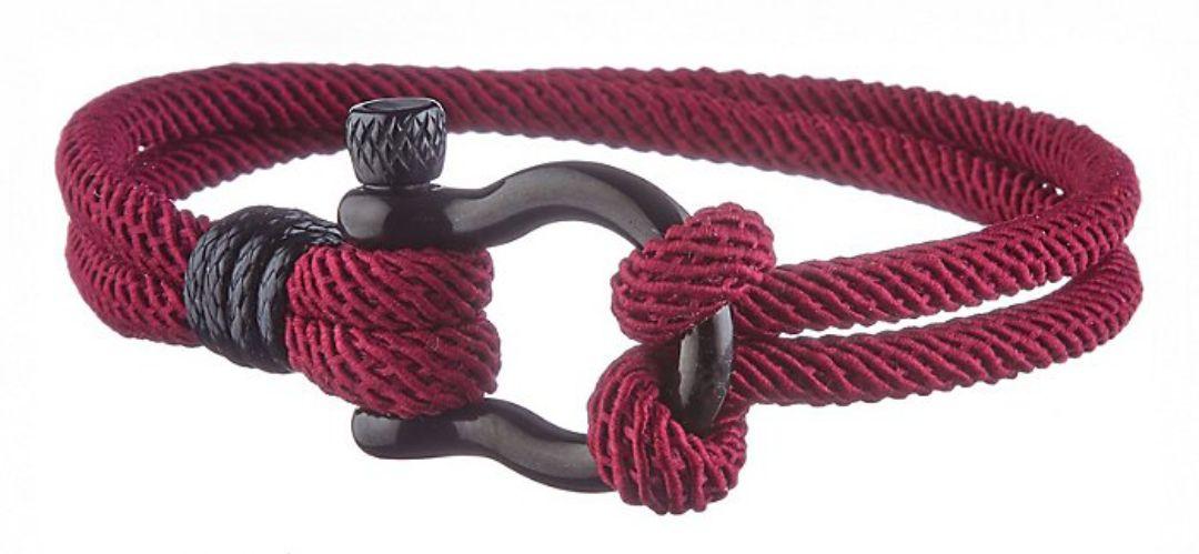 Bracelet Geographical Norway Cordon Marin - Bordeaux, Fermoir Mousqueton Acier