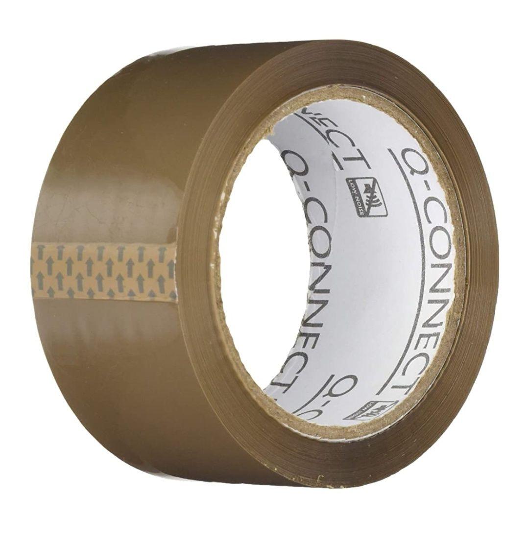 Lot de 6 rouleaux ruban adhésif d'emballage Q-Connect - Silencieux, Marron, scotch