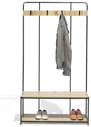 Meuble vestiaire d'entrée avec patères et range chaussures - 1x1.8x0.33 m