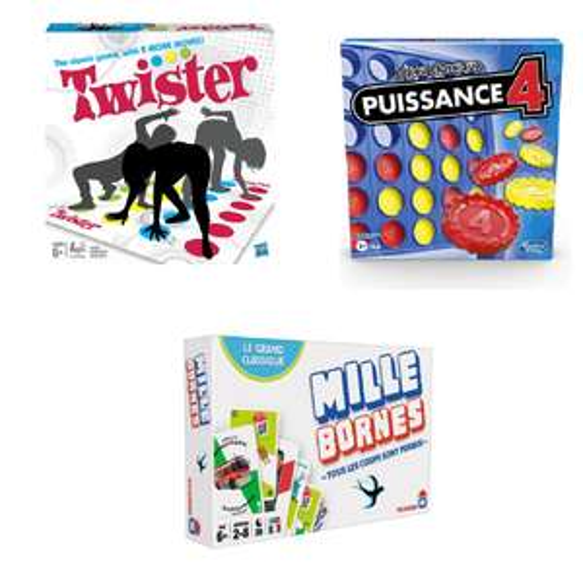 2 jeux de société achetés parmi une sélection = le 3e offert (le moins cher) - Ex : Twister + Puissance 4 + Mille Bornes