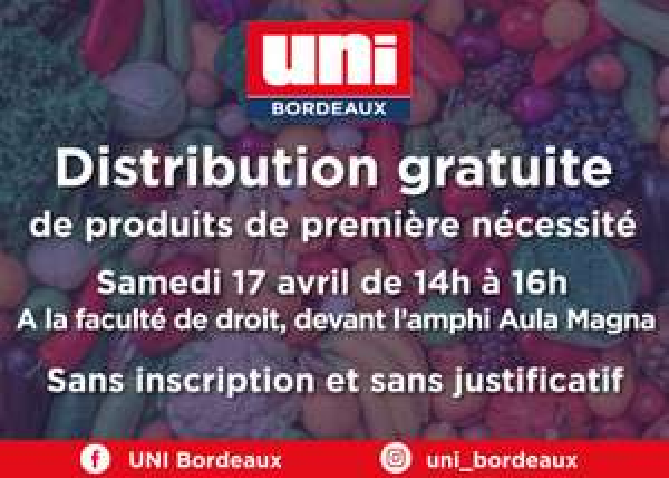 Distribution Gratuite de produits de première nécessité (Bordeaux - 33)