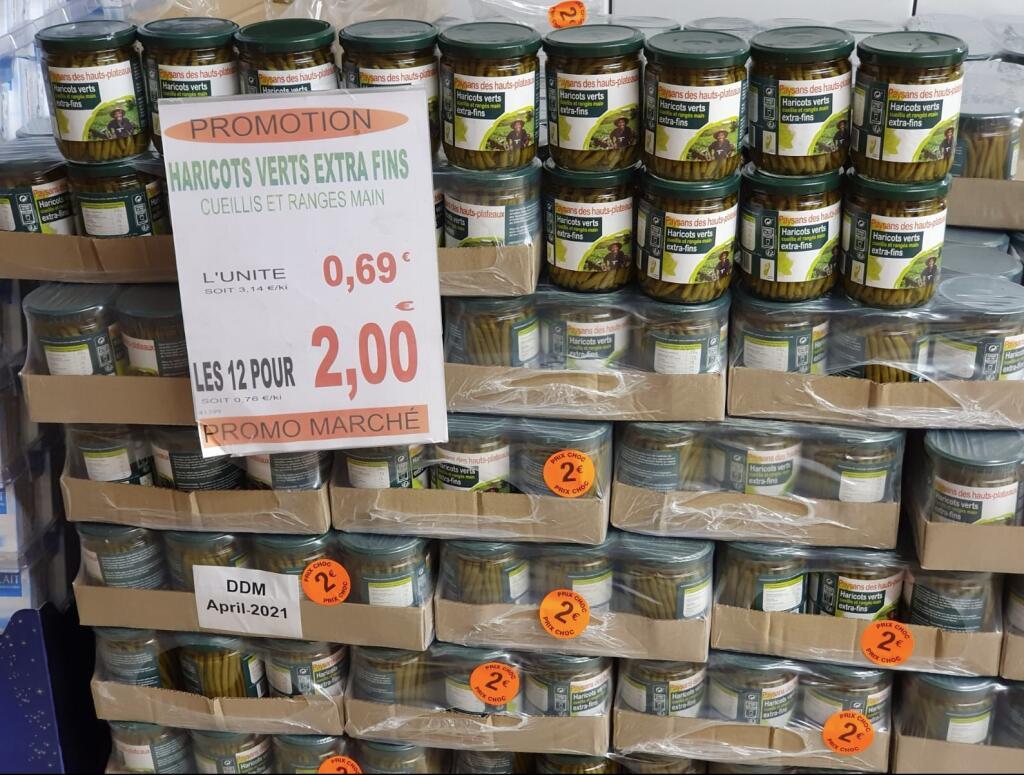 12 bocaux d'haricots verts extra fins - Promo marché Reims (51)