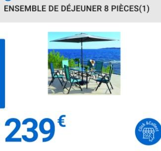 Salon de jardin en aluminium : 6 chaises + 1 table + un plateau en verre + un parasol (Magasins participants)