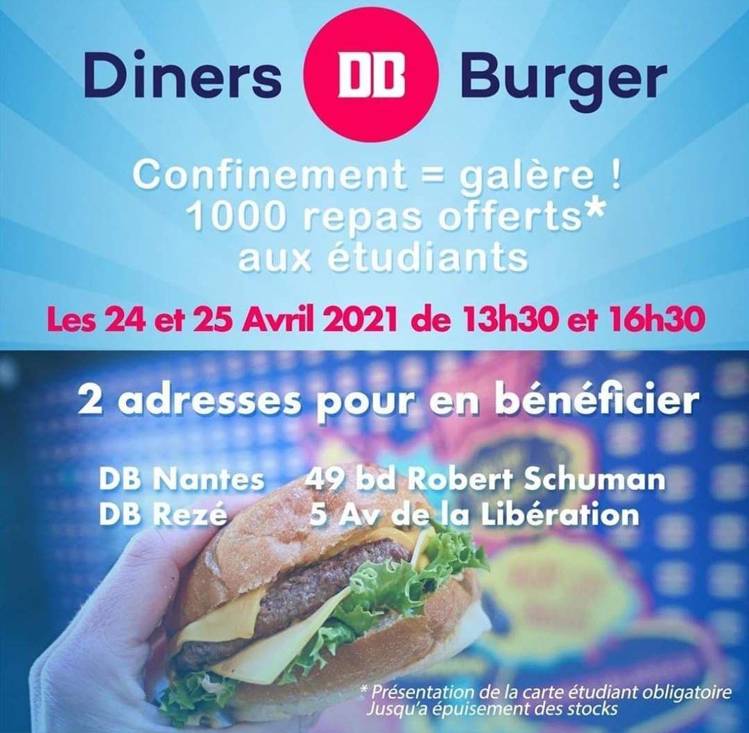 [Étudiants] 1000 Burgers offerts - Diner's Burger Nantes / Rezé (44)