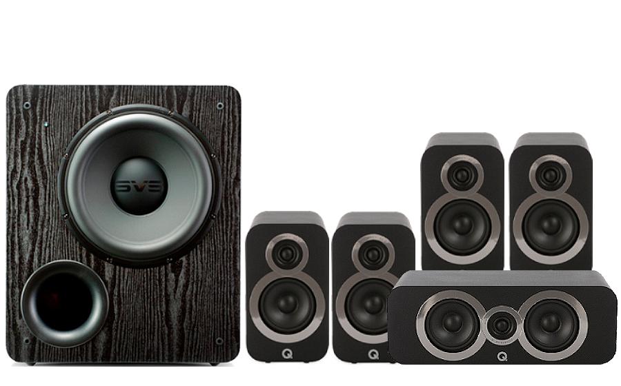 Pack d'enceintes Home Cinéma Q Acoustics 3010i Cinema Pack + Caisson de basses SVS PB2000