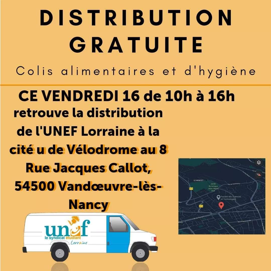 [Étudiants] Distribution colis alimentaire - Vandoeuvre lès Nancy (54)