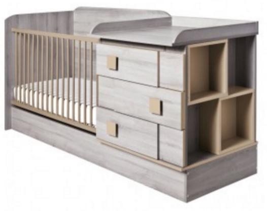 Lit bébé combiné (+ table à langer) et évolutif Lena - argile