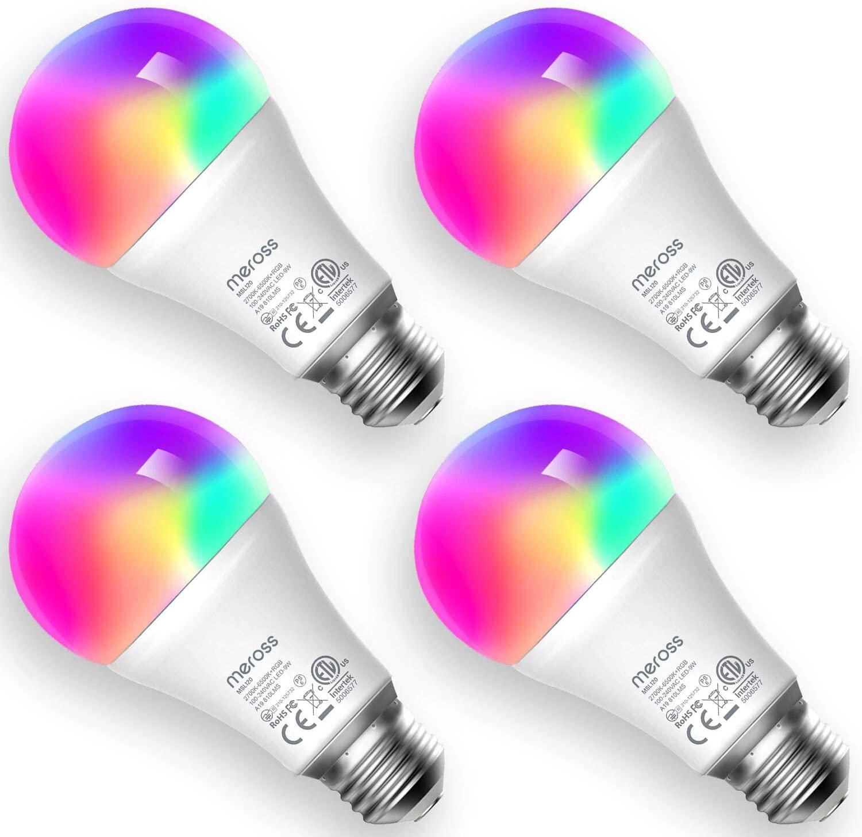 Lot de 4 Ampoules connectées WiFi Meross - E27, 2700-6500K, Équivalente 60W, Compatibles Alexa, Google Home et SmartThings (Vendeur tiers)