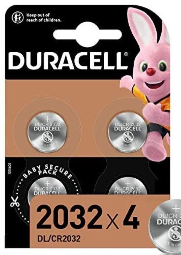 Lot de 4 piles bouton lithium 3V Duracell 2032