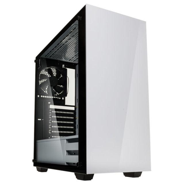 Boîtier PC Kolink Stronghold blanc - ATX, vitre en verre trempé