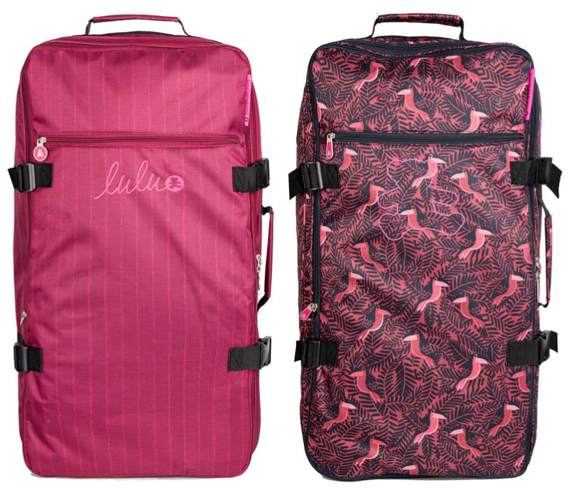 2 sacs de voyage LuluCastagnette Stripes et Jungle - Rose & Noir (91L)