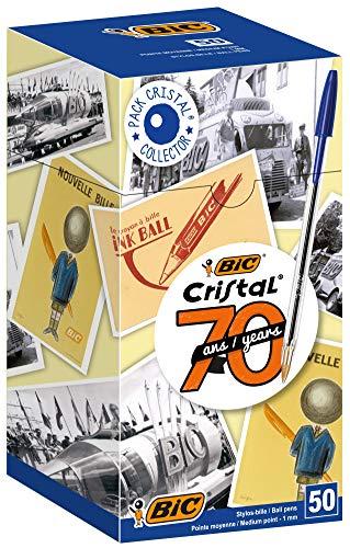 Boîte de 50 Stylos-Bille BIC Cristal Original Ecriture Stylos-Bille Pointe Moyenne (1,0 mm) Plusieurs coloris