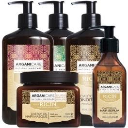 Pack de 5 soins Arganicare Routine pousse des cheveux - Huile de ricin bio, Tous types de cheveux