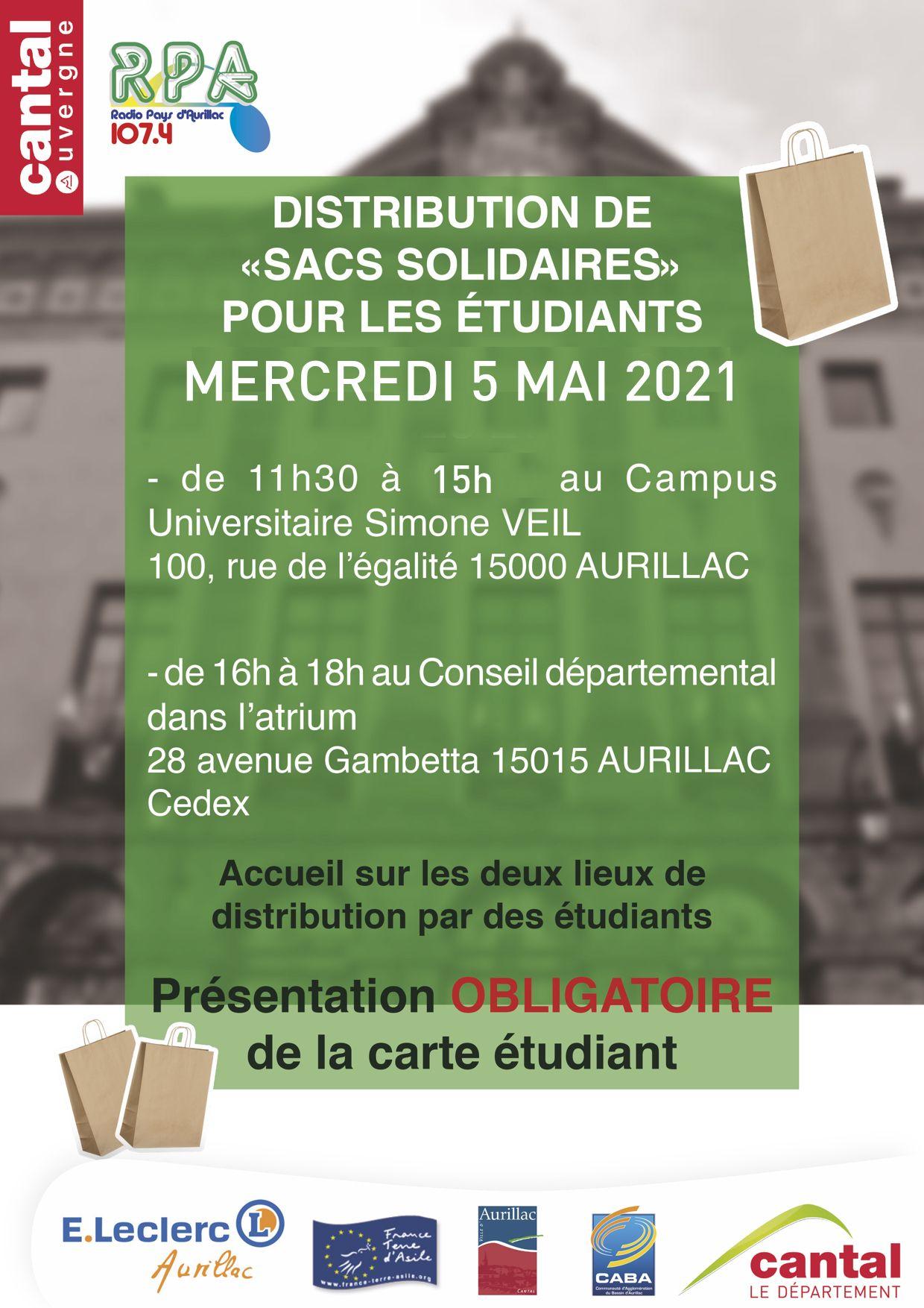 [Etudiants] Distribution de sacs solidaires - Aurillac (15)