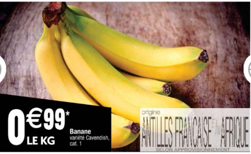 Le kg de Bananes Cavendish - Catégorie 1, Origine Afrique ou Antilles françaises